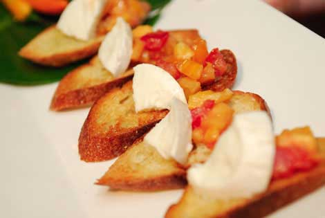 Fresh mozzarella crostini