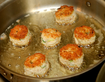 Prepping crab cakes